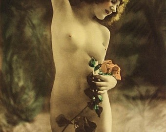 Charles Gilhousen Photo, Untitled Figure with Flower, Art Nouveau, 1920s