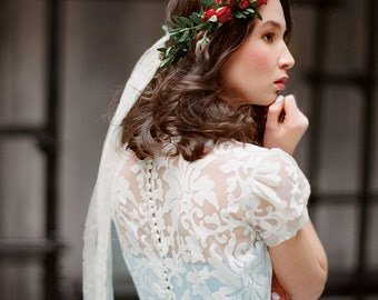 """Blue wedding dress with sleeves """"Ilaria"""" - Colored tulle bridal gown, Lace gown, Short sleeve boho wedding dress, Cap sleeve gown, Milamira"""