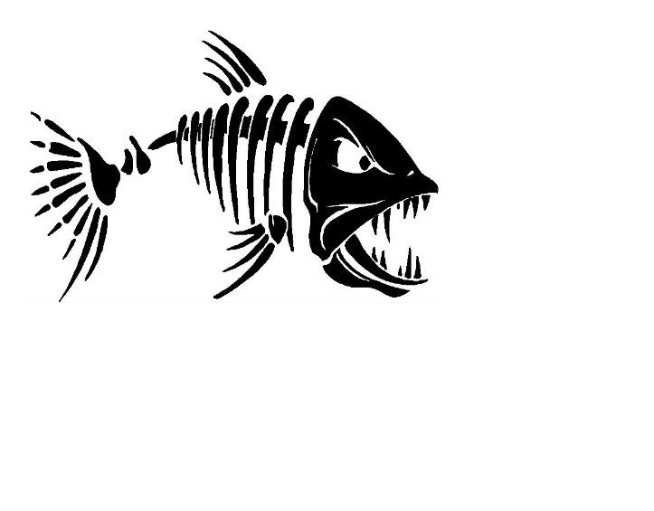Fish skeleton decal car decal fishing decal by for Fish skeleton decal