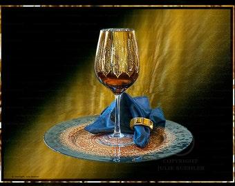 Digital Art: Gold Wine Glass, Plate, Black, Gold, Restaurant Wall Art, Wall Decor Photo, Kitchen Art, Fine Art Photography Print [gld] [blk]