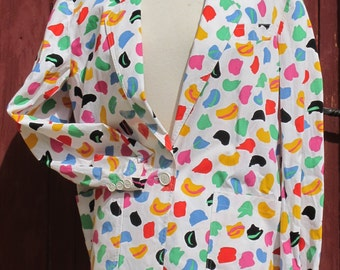 SALE Guy Laroche Multi coloured abstract pattern 1980s jacket