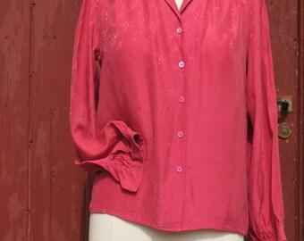 SALE Raspberry Pink Jaquard silk Vintage shirt