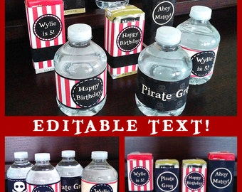 Pirate Party Water Bottle & Juice Box Wraps Labels Birthday Printables - EDITABLE Text - Personalize at Home - INSTANT DOWNLOAD