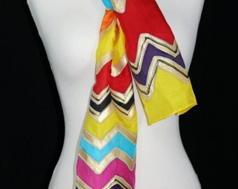 Yellow Red Orange Silk Scarf. Pink Blue Hand Painted Silk Shawl. Handmade Silk Scarf RAINBOW GODDESS. Size 8x54. Birthday Gift. Gift-Wrapped