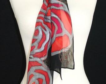 Black Silk Scarf. Red Hand Painted Silk Shawl. Handmade Chiffon Silk Scarf BED OF ROSES 2. Size 8x54. Birthday Gift, Anniversary Gift.