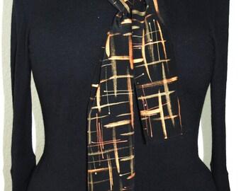 Black Silk Scarf. Gold Hand Painted Silk Shawl. Handmade Silk Scarf SATURDAY NIGHT. Size 8x54. Birthday, Bridesmaid Gift. Gift-Wrapped.