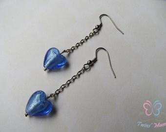 Romantic earrings, heart earrings, blue earrings, lampwork bead heart earrings, lampwork bead earrings, blue lavender earrings, love earring