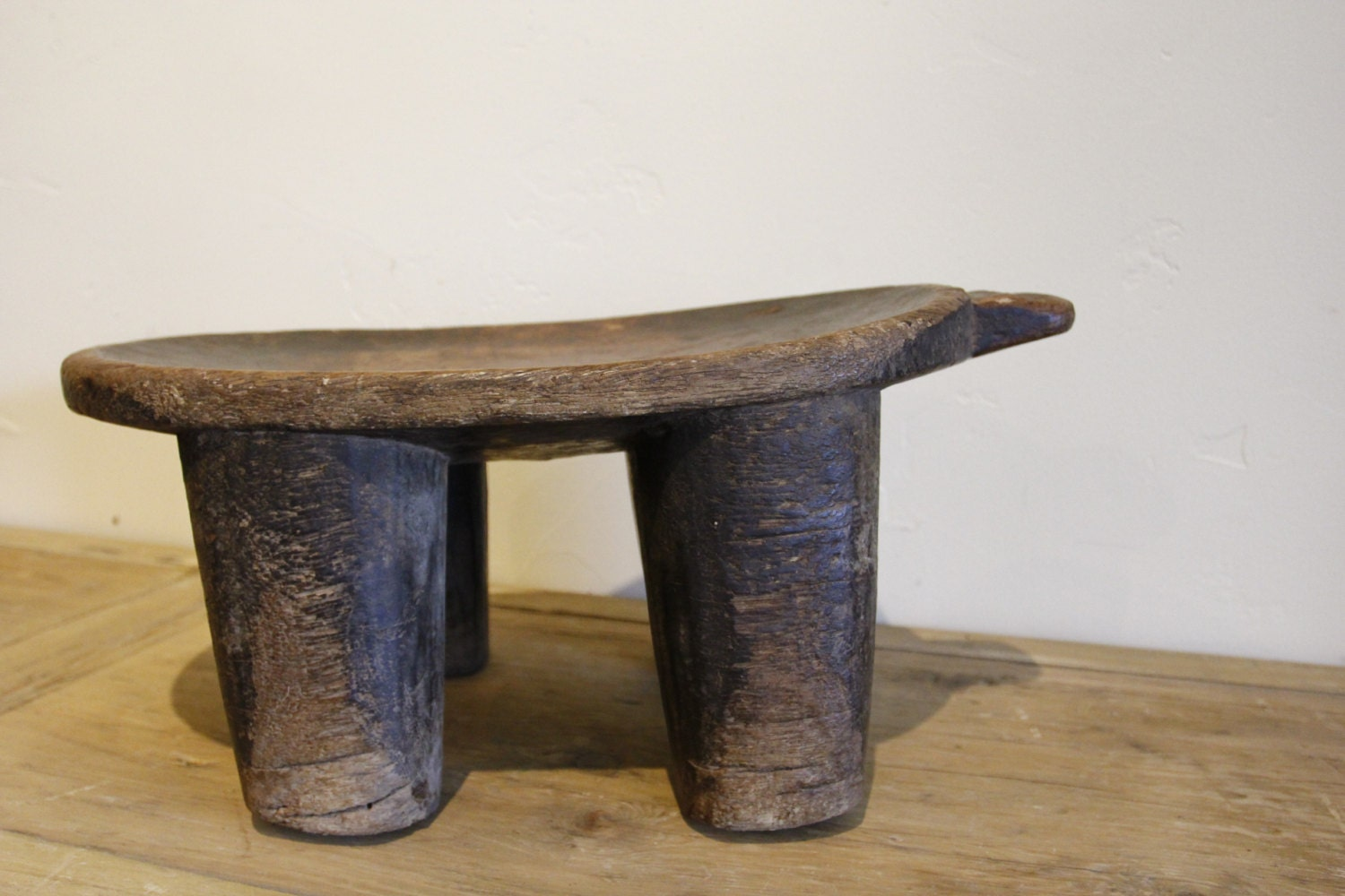Old Wooden Stool ~ Antique hand carved wooden stool vintage african ivory