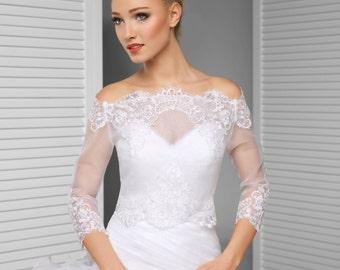 Bridal Off-Shoulder jacket/ Lace wedding jacket/ Bolero shrug/ jacket /bridal lace top