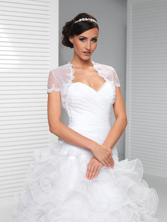 manches courtes dentelle mariage bolero gilet shrug disponible en ivoire et blanc - Bolero Mariage Blanc