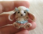 Polymer Clay Bunny girl, Bunny brooch, Bunny charm, Bunny Miniature, Bunny figurine. Bunny with boows, Bunny with skirts. Easter Rabbit