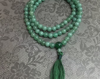 Green Aventurine & Emerald Mala.  Heart Chakra Meditation Mala.