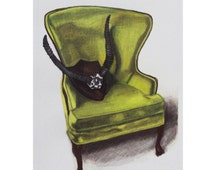 Masculine Wingback Chair Drawing
