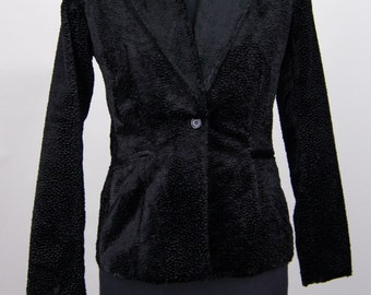 Black Textured Velvet Blazer Jacket Size 4