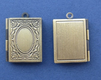 2 Book Charm - Picture Locket Charm - Locket Pendant - Rectangular - Antique Bronze -- (K6-10399)