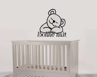 Wall Decal 003 E- Pooh Goodnight Children's Bedroom - English or French