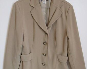 Women's Australian Made Cream Tan Dress Jacket, 70s Vintage, size AU12