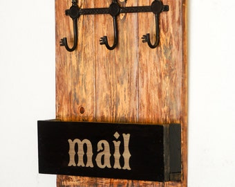 Rustic Wood Key and Mail Organizer