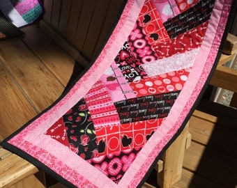 Lovely Quilted Table Runner. Perfect for Valentine's Day.