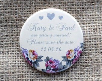 Vintage Flower and Heart Design, save the date magnet, wedding invitation [30 x 58mm magnets]