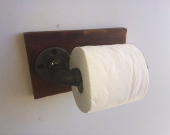 Rustic Industrial Toilet Paper Holder, Bathroom Accessory, Iron Pipe, Wood