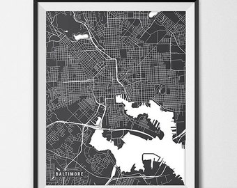 Baltimore Map Art Print, Baltimore City Map of Baltimore Art Poster of Maryland State Map, Baltimore Wall Decor Modern Home Decor