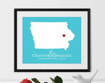 Iowa Map Art, Cedar Rapids Iowa Wedding Gift Iowa Gift Iowa Housewarming State Map - Any STATE