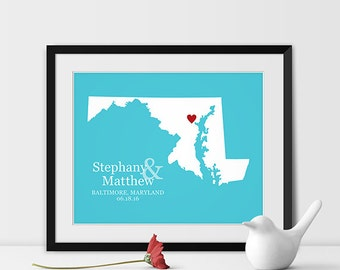 Maryland Map Art, Baltimore Maryland Wedding Gift for Couples Wedding Gift for Anniversary Gift for Him Maryland Gift -Any STATE