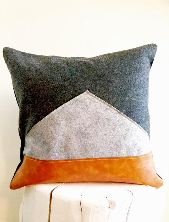 Modern Felt Pillows : Color Block Modern Grey Felt Decorative Pillow by PosyandBelle