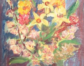 Vintage impressionist  still life vase oil painting