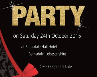 PERSONALISED Birthday Party Invites SILVER or GOLD Invitations