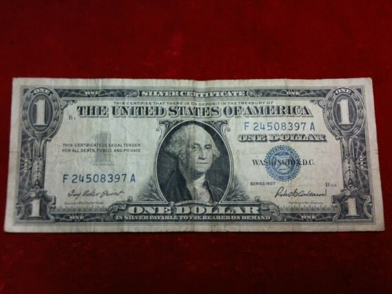 Value silver certificate one dollar bill series 1957 / Song used in ...