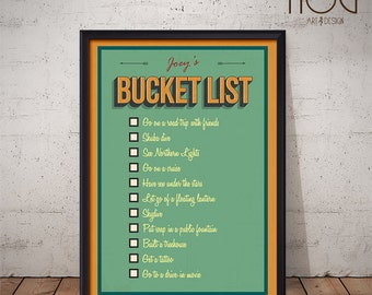 Bucket List - To Do List - Together Let's - Unique Personalized Poster Design