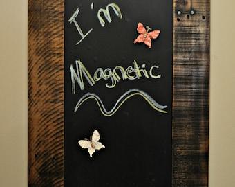 Reclaimed Rustic Wood Framed Magnetic Chalk Board