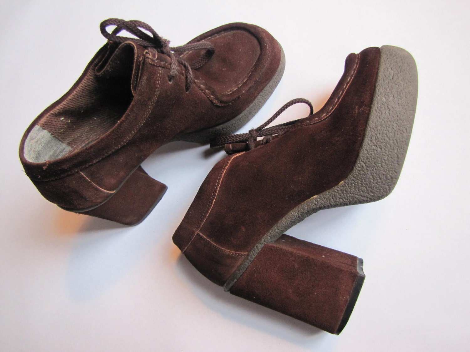 brown suede thick platform heel loafer bronx shoes made in