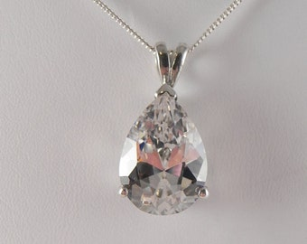 Crystal Sterling Pendant and Chain
