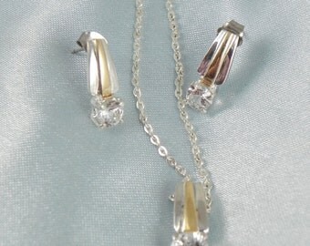 Sterling Cubic Zirconia Necklace and Earrings Set