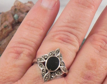 SALE Black Onyx and Marcasite Sterling Ring