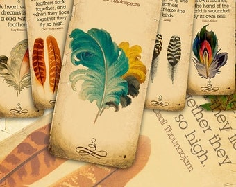 Feathers quotes Bookmarks - 12 vintage digital printable collage sheet instant download - Retro Box Collection