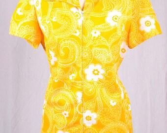 Vintage 60s Blouse   Floral Blouse   60s Yellow Blouse   Medium M Large L