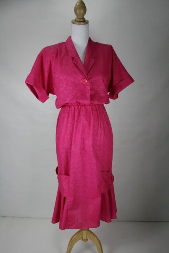 1990s M/L pink cotton floral burnout wiggle dress 38+/28+/40