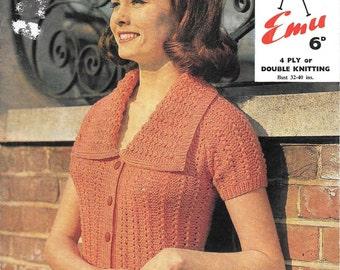 "Vintage Emu Ladies Spring/Summer Cardigan Knitting Pattern, Bust sizes 32 - 40"", 4 ply or Double Knitting DK 1960s"