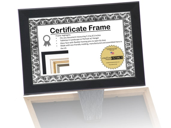 black certificate frame business license frames for professionals 55 by 85 inch self standing easel