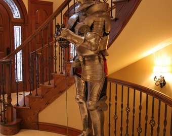Suit of Armor in 16th Century Style with Authentic cup-hilt rapier sword