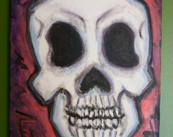 A colorful 12x24 acrylic Skull painting on canvas