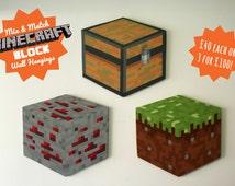 Minecraft Block wall hanging - mix & match!