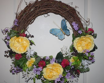 Ready to ship, Summer Wreath, Yellow Roses, Spring Wreath, Spring Wreaths for Front Door, Mother's Day Gift, Spring Décor, Housewarming