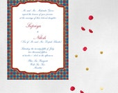 Royal Wedding Invitation Red Blue Gold, Indian Arabic- DIY Printable or Printed Invite
