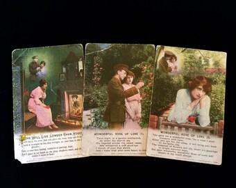 Set of 3 WWI Sweet Heart Postcards: Vintage 1910's                                                      VG1413