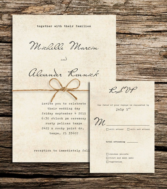 Items similar to Rustic Wedding Invitation